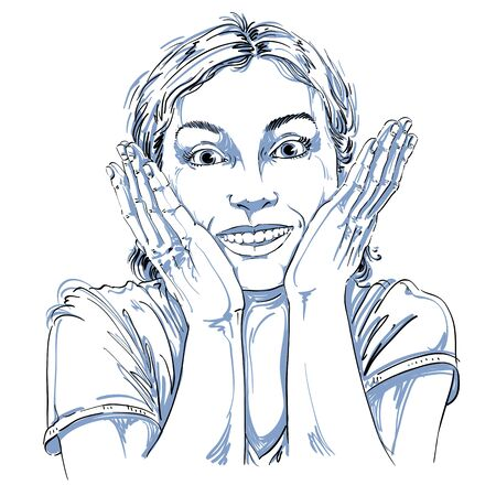 Hand-drawn portrait of white-skin surprised happy woman, gesturing. Face emotions theme illustration. Beautiful shocked lady posing on white background. Illustration
