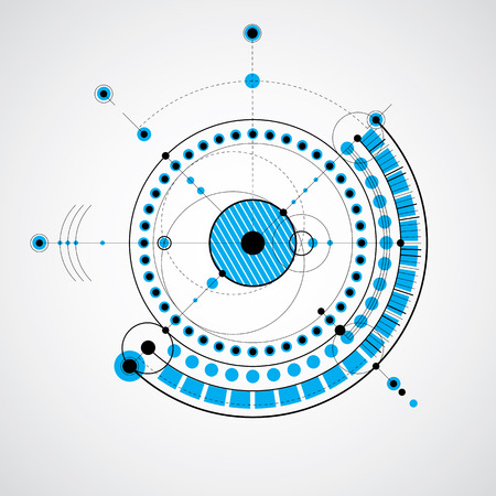 dibujo tecnico: Dibujo técnico realiza mediante líneas de puntos y círculos geométricos. Vector fondo de pantalla azul creado en el estilo de la tecnología de las comunicaciones, el diseño del motor.