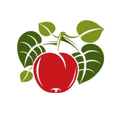 Single red simple vector cherry with green leaves, ripe sweet berry illustration. Healthy and organic food, harvest season symbol.