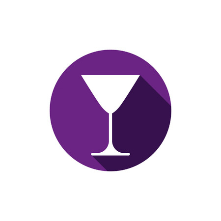 rendezvous: Alcohol beverage theme icon, classic martini glass placed in circle. Colorful restaurants and cafes brand emblem. Illustration