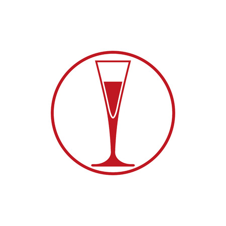 revelry: Classic champagne glass, alcohol beverage theme illustration. Lifestyle graphic design element.  Relaxation and leisure icon, for use in graphic design.