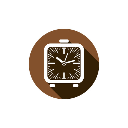 interim: Time conceptual stylish icon, simple desk clock placed in a circle. Can be used in advertising and as web element.