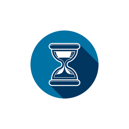 interim: Classic sand-glass illustration, antique hourglass placed in a circle. Time conceptual icon, for use in advertising  and  as corporate brand element. Illustration