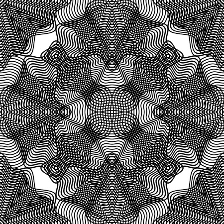 Vector pattern with black graphic lines, kaleidoscope abstract background with overlay ornament. Monochrome illusive seamless backdrop, can be used for graphic design.