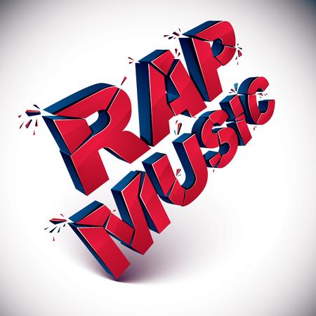 3d añicos vector de rap música de la palabra roja creada con refracciones. inscripción dimensiones con manchas aisladas sobre fondo blanco. Vectores