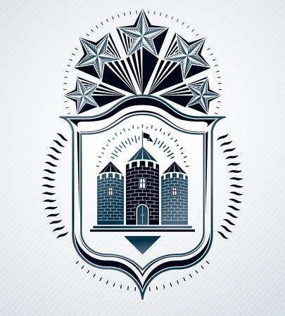 fortress: Vintage decorative emblem composition, heraldic vector.