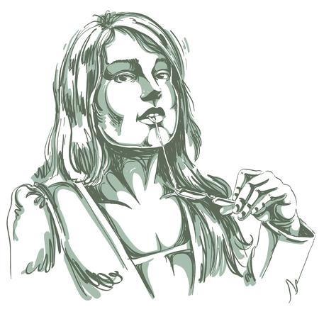 hot temper: Vector el retrato de la mujer atractiva sosteniendo sus anteojos y pensando en algo, ejemplo de buen aspecto señora atractiva. Persona rostro de expresión emocional, características visage. Vectores