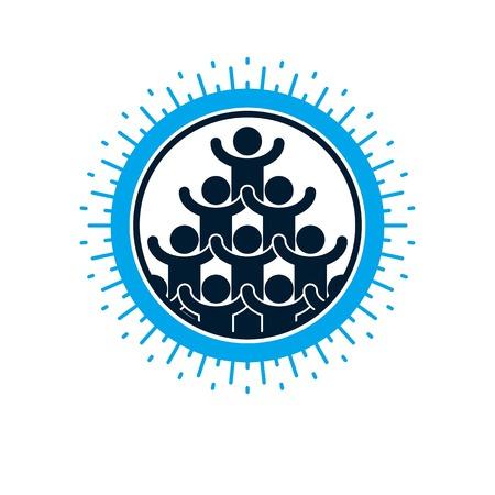 Social Relations conceptual logo, unique vector symbol. Social interaction, Society and person. Illustration