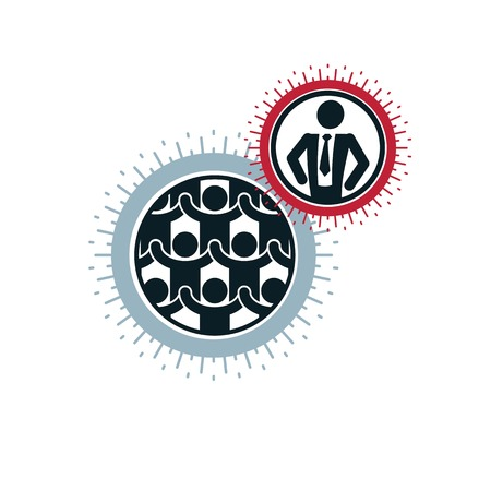 mankind: Mankind and Person conceptual logo, unique vector symbol created with different icons. System and social Matrix sign. Person and world interacts with each other. System and social Matrix sign. Illustration