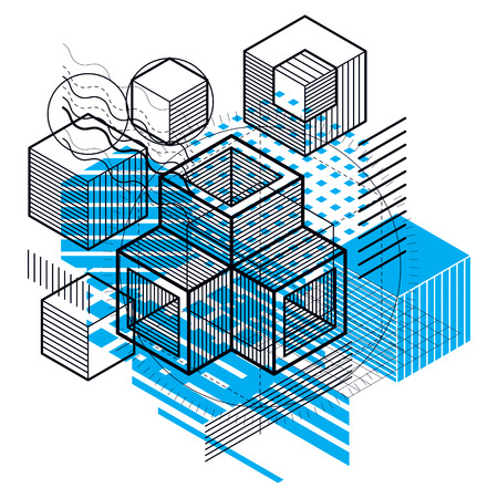 Abstract background with isometric lines, vector illustration. Template made with cubes, hexagons, squares, rectangles and different abstract elements.