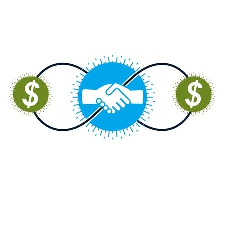 pacto: El éxito comercial y logotipo creativo Líder, muestra pacto apretón de manos, símbolo del vector conceptual aislado sobre fondo blanco. Especial y único signo.