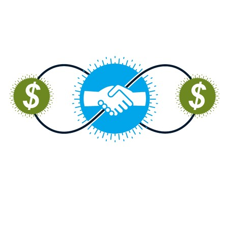 pacto: Successful Business and Leader creative logo, handshake pact sign, vector conceptual symbol isolated on white background. Special and unique sign.