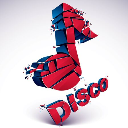 Red 3d vector musical note broken into pieces, explosion effect. Dimensional art melody symbol, disco music theme. Illustration