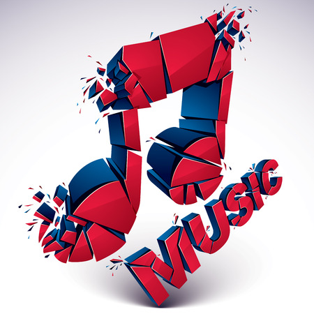 shattered: 3d vector red shattered musical notes with music word. Art melody transform symbol broken into pieces.