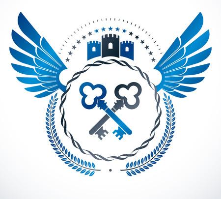 eagle shield and laurel wreath: Vintage award design, vintage heraldic Coat of Arms. Vector emblem. Illustration
