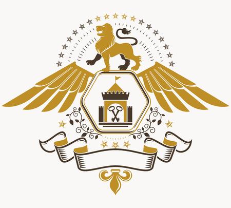 winged lion: heráldica viejo estilo, emblema heráldico, ilustración vectorial.