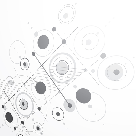 grayscale background: Modular Bauhaus 3d vector grayscale background, created from simple geometric figures like circles and lines. Best for use as advertising poster or banner design.
