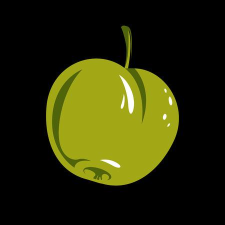 fertility emblem: Harvesting symbol, single vector fruit isolated. Ripe organic whole sweet apple, healthy food idea design icon. Illustration