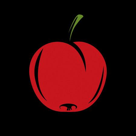 fertility emblem: Harvesting symbol, single vector red fruit isolated. Ripe organic whole sweet apple, healthy food idea design icon.