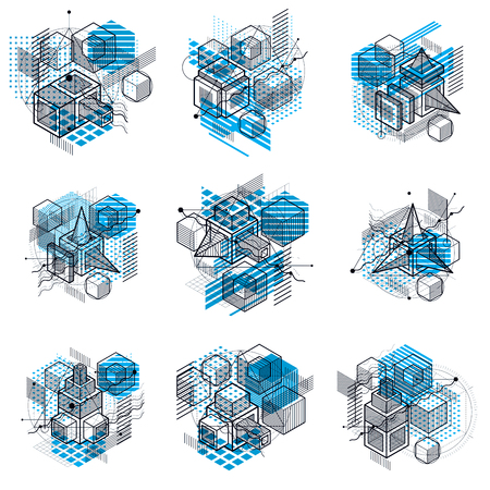 escher: Abstract backgrounds with isometric lines, vector illustrations. Templates made with cubes, hexagons, squares, rectangles and different abstract elements. Vector set.