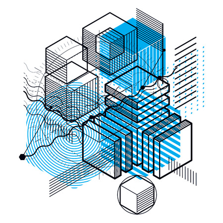 modular rhythm: Isometric abstract background with linear dimensional shapes, vector 3d mesh elements. Composition of cubes, hexagons, squares, rectangles and different abstract elements.