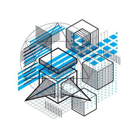 perspectiva lineal: Resumen de fondo con líneas isométricas, ilustración vectorial. Plantilla hecha con cubos, hexágonos, cuadrados, rectángulos y diferentes elementos abstractos. Vectores