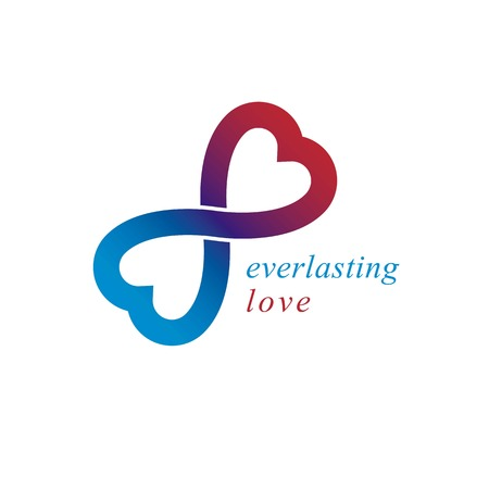 everlasting: Love Forever conceptual logo, vector symbol created with infinity loop and male Mars an female Venus signs. Relationship creative idea.