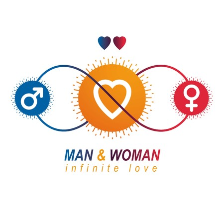 Love Couple conceptual logo, unique vector symbol. Male and Female, Mars and Venus signs. Interaction between loving people.