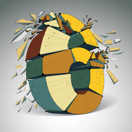 Abstract 3d faceted colorful number 6 with connected black lines and dots. Vector low poly shattered design element with fragments and particles. Explosion effect. Illustration