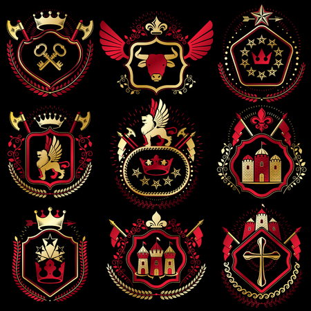 armory: Set of vector retro vintage insignias created with design elements like medieval castles, armory, wild animals, imperial crowns. Collection of coat of arms.