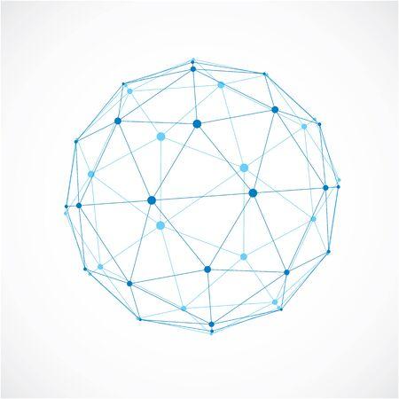 3d vecteur low poly objet sphérique avec des lignes noires connectés et des points, la forme de wireframe bleu géométrique. Perspective orbe créé avec des facettes triangulaires.