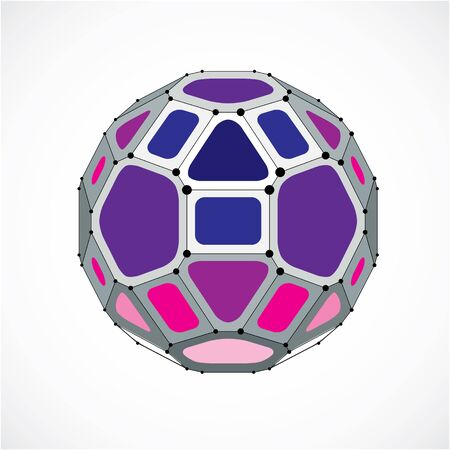 facet: 3d vector low poly spherical object with black connected lines and dots, geometric purple wireframe shape. Perspective facet ball created with squares and pentagons.