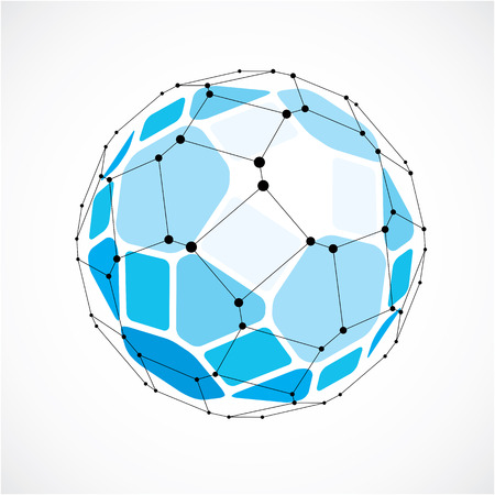 Abstract 3d faceted figure with connected black lines and dots. Vector low poly blue design element created with squares and pentagons. Cybernetic orb shape with grid and lines mesh.