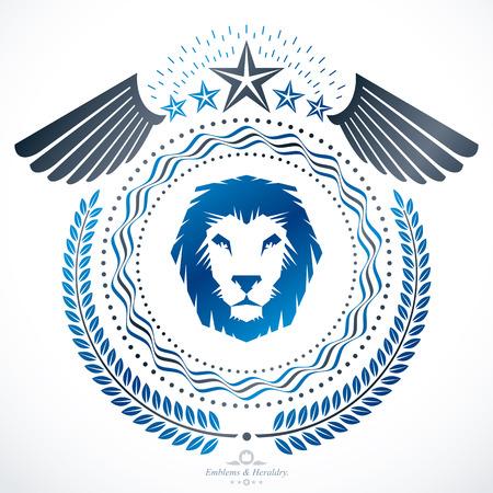 winged lion: Heraldic design, vector vintage emblem.
