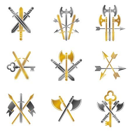 arsenal: Vintage Weapon Emblems set. Vintage vector design elements collection. Retro style label, heraldry.