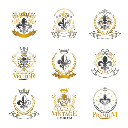 lily flowers collection: Lily Flowers Royal symbols emblems set. Heraldic Coat of Arms decorative logos isolated vector illustrations collection.