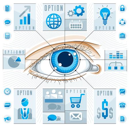 Creative infographics, human eye, looking eye idea,,vector illustration.