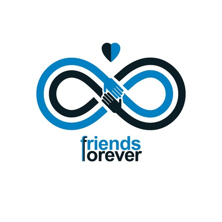everlasting: Infinity sign with two hands touching each other, infinite friendship concept, forever friends vector creative logo.