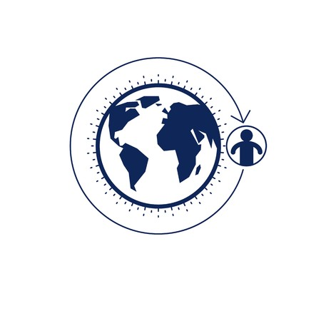 mankind: World and Person creative logo, unique vector symbol created with different icons. System and social Matrix sign. Person and humankind interacts with each other. System and social Matrix sign.