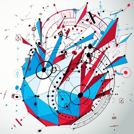Dibujo técnico realizado con líneas de malla y círculos geométricos. Papel pintado colorido del vector de la perspectiva creado en estilo moderno polivinílico bajo, diseño del motor 3d. Diseño para presentaciones de negocios y banners.