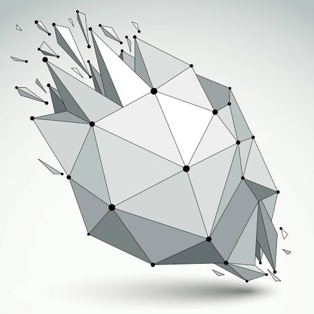 shattered: Abstract 3d faceted figure with connected black lines and dots. Vector low poly shattered design element with fragments and particles. Explosion effect. Illustration