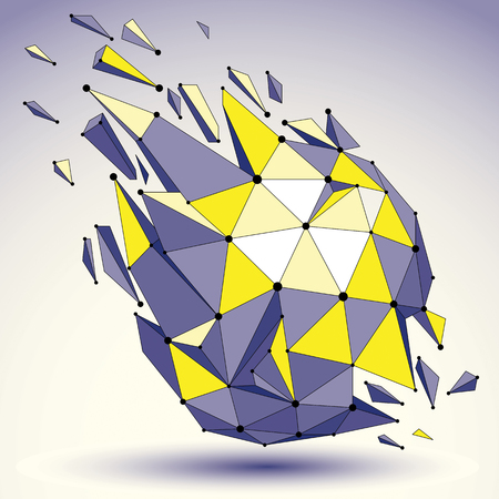 3d vector digital wireframe colorful object broken into different particles and refractions, geometric polygonal structure with lines mesh. Low poly shattered shape, lattice form.