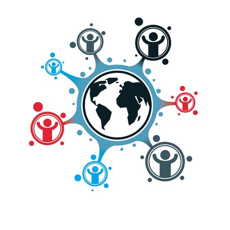 Mankind and Person conceptual logo, unique vector symbol created with different icons. System and social Matrix sign. Person and world interacts with each other. System and social Matrix sign. Illustration