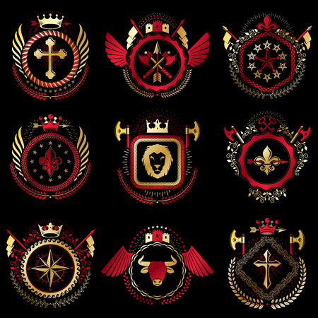 armory: Set of vector vintage emblems created with decorative elements like crowns, stars, bird wings, armory and animals.  Collection of heraldic coat of arms.