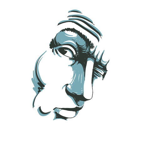 Vector drawing of drunk man or gambler with wrinkles on his forehead. Black and white portrait of tricky guy, mask with features. Illustration