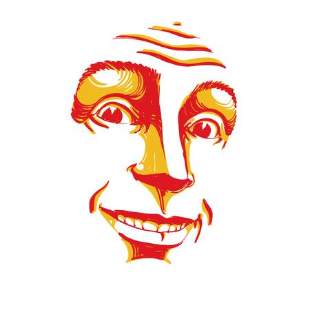 Handgetekende vectorillustratie van lachende zelfverzekerde man. Kleurrijk beeld, uitdrukkingen op gezicht van vrolijke kerel.