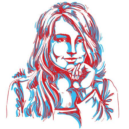 hot temper: Artística imagen del vector dibujado a mano, retrato creativo de coquetear chica de rasgos delicados. Las emociones ilustración del tema. Vectores