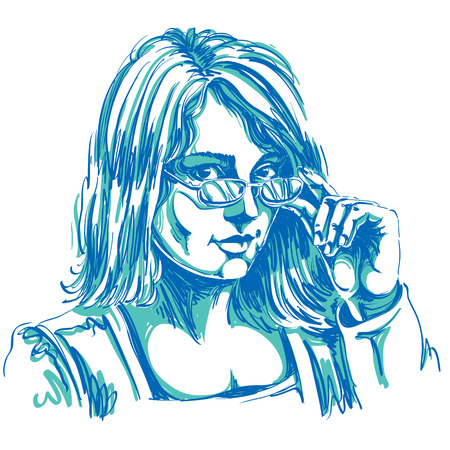 skeptic: Portrait of delicate good-looking business woman with eyeglasses, vector drawing. Emotional expressions idea image. Gorgeous lady with visage features expressing curiosity. Illustration