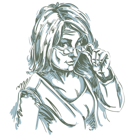 skeptic: Vector art drawing, portrait of gorgeous girl with eyeglasses. Facial expressions, people emotions, skeptic or distrustful girl.