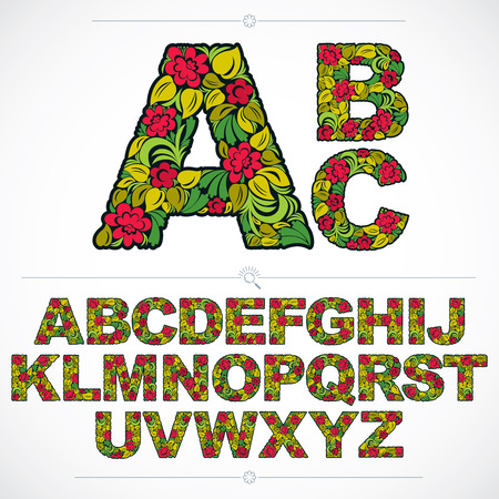 Set of vector ornate capitals, flower-patterned typescript. Colorful characters created using herbal texture.